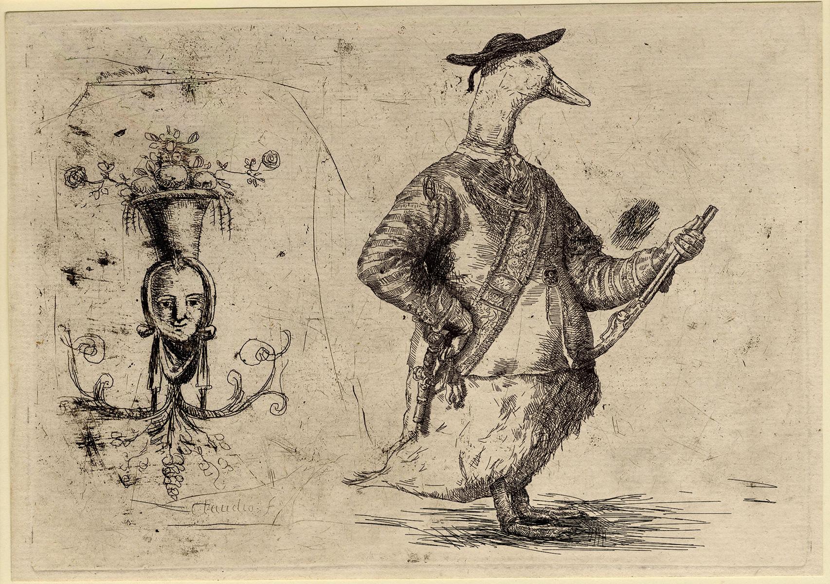 Gravura atribuída a Claude Gellée - Impressão Giclée - 15 cm x 21 cm