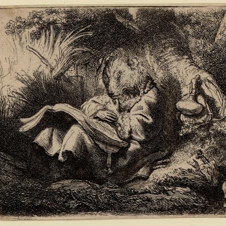 Gravura atribuída a Rembrandt - Impressão Giclée - 10 cm x 13 cm